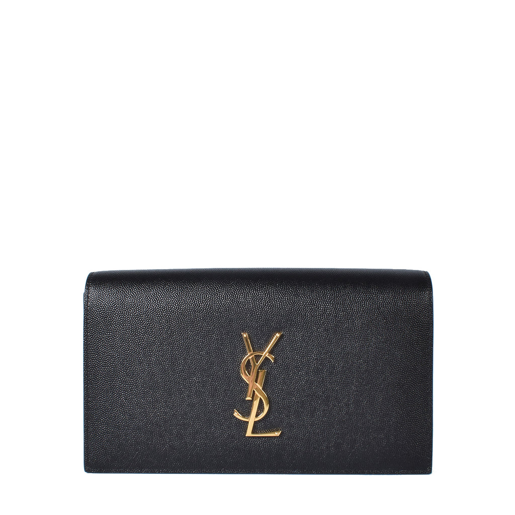 Yves Saint Laurent Black Grained Leather Kate Clutch Bag