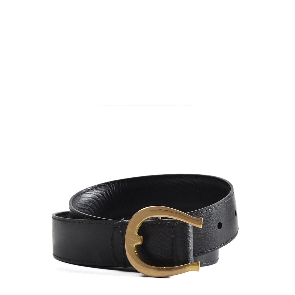 Aigner Vintage Leather Belt in Black 125262 9