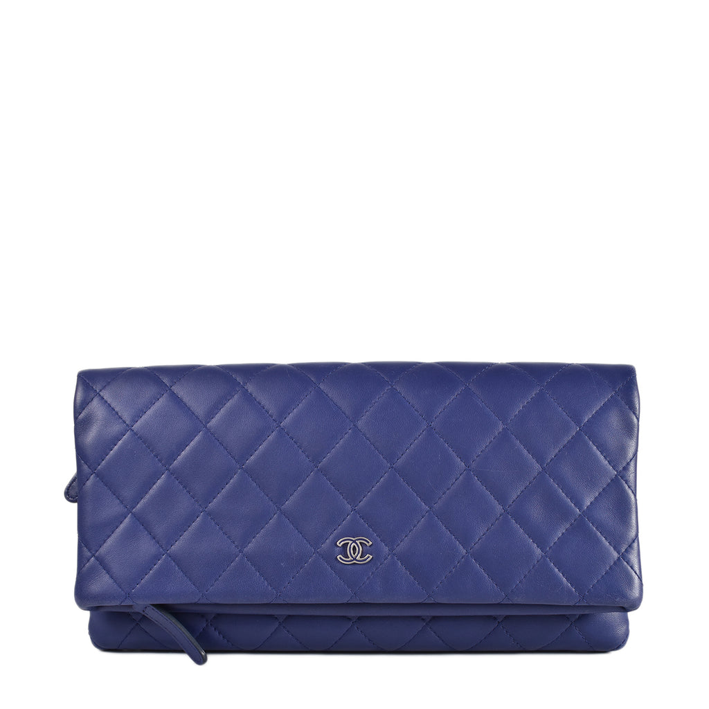Chanel Blue Quilted Lambskin Foldover Clutch Bag