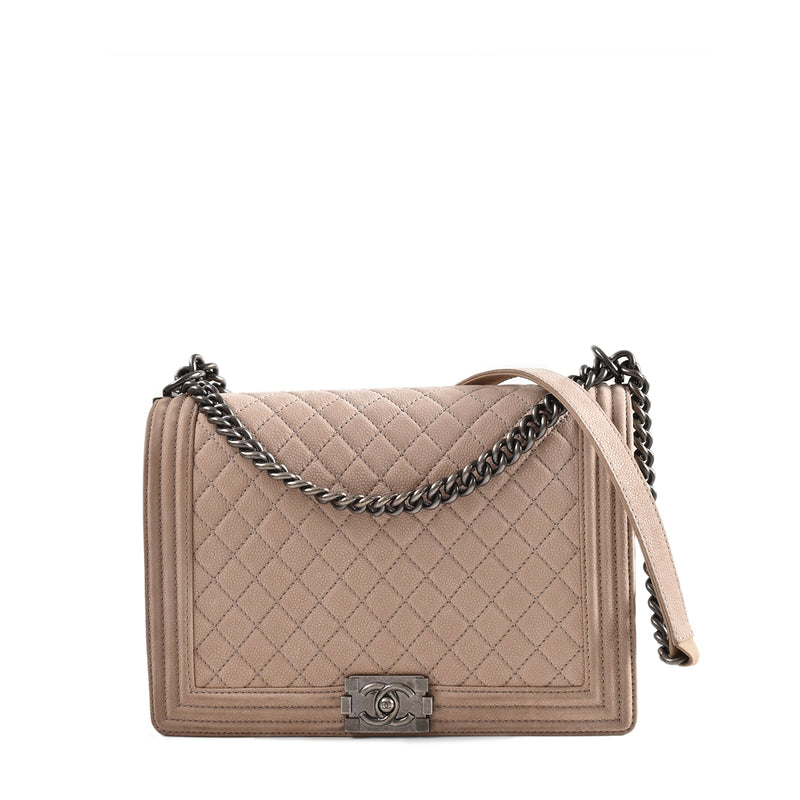 Chanel Beige Quilted Matte Caviar Suede Leather Large Boy Bag