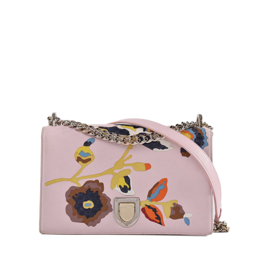 Christian Dior Medium Diorama in Pink Floral Lambskin
