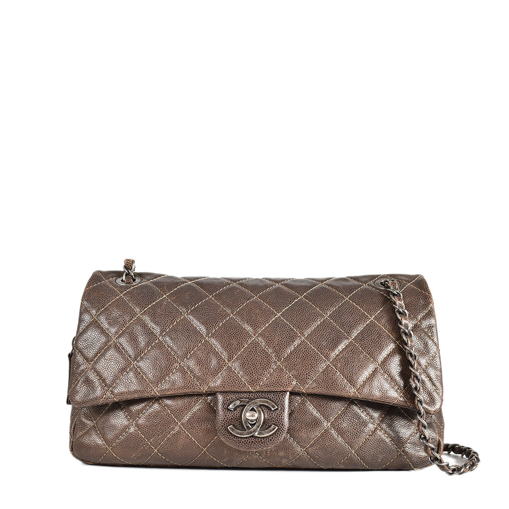 Chanel 2012 Seasonal Brown Caviar Flap SHW