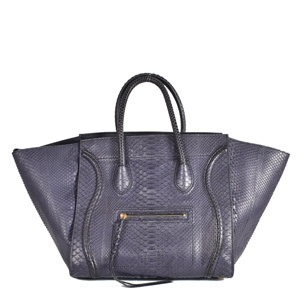 Celine Dark Blue Python Small Phantom Luggage Tote Bag