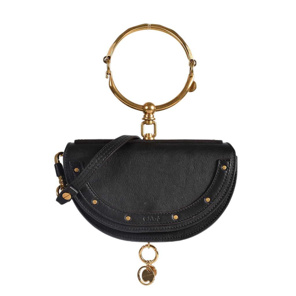 Chloe Black Leather Small Nile Bracelet Minaudiere Crossbody Bag