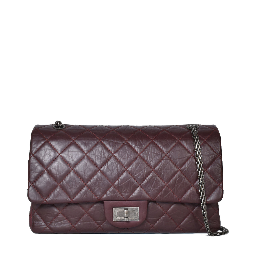 Chanel Dark Burgundy Reissue Quilted Classic Calfskin Leather 227 Jumbo Flap Bag RHW