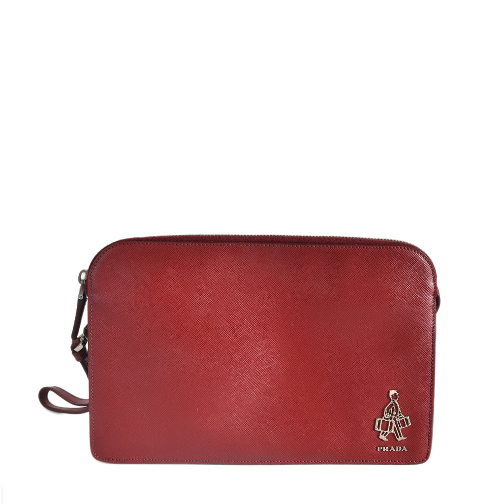 Prada VR0056 Saffiano BellBoy Travel Clutch in Red