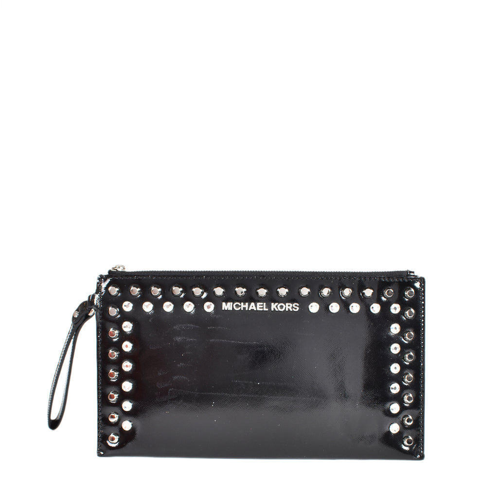 Michael Kors Studded Patent Leather Pouch in Black