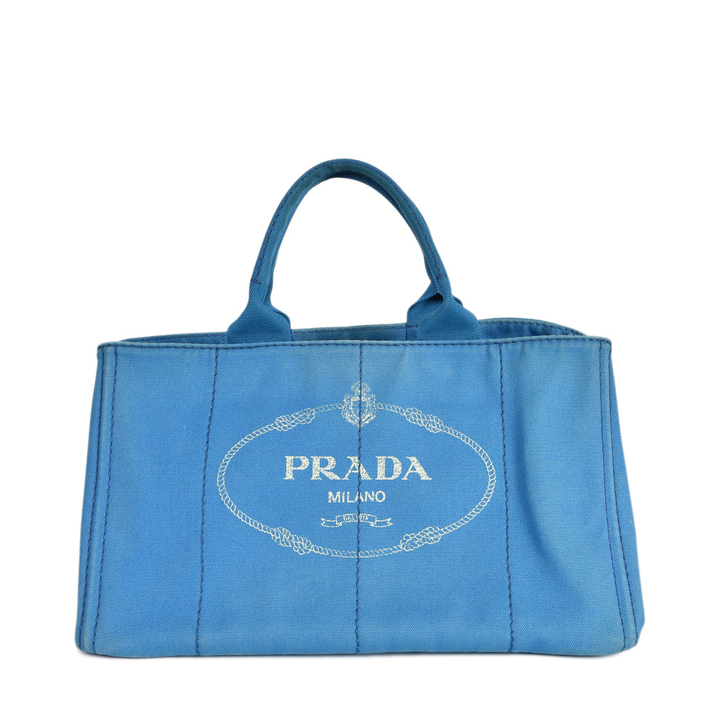 Prada Jacquard Canapa Logo Canvas Tote in Blue