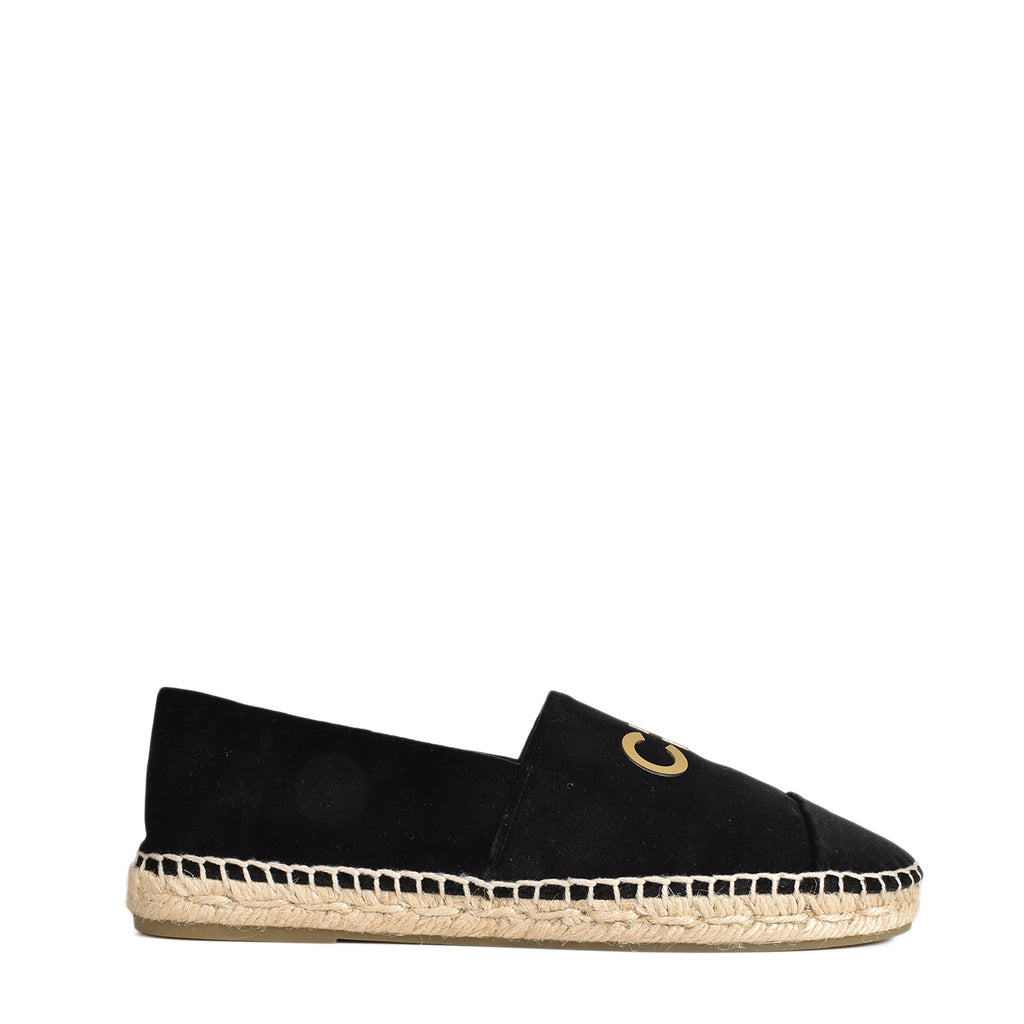 Chanel Velvet Logo Espadrilles in Black