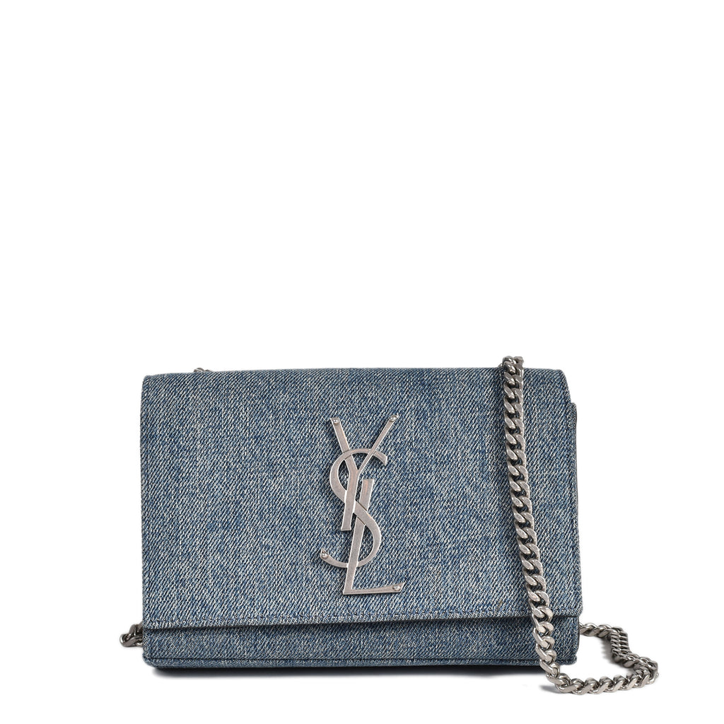 Saint Laurent Denim Classic Small Kate Monogram Satchel Light Blue