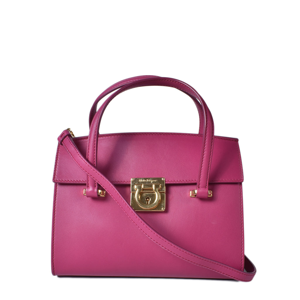Salvatore Ferragamo Purple Calfskin Mini Mara Lock Story Bag