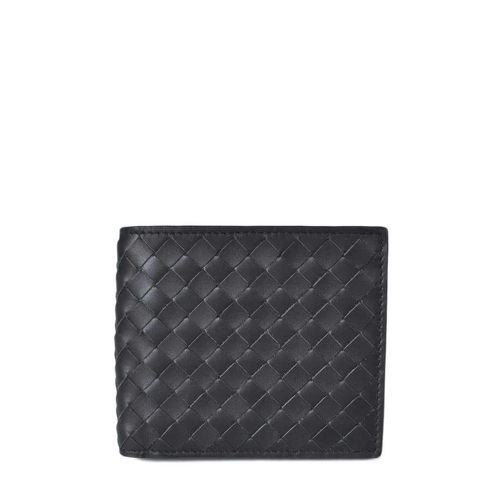 Bottega Veneta Nero Interacciato Bifold Black Wallet