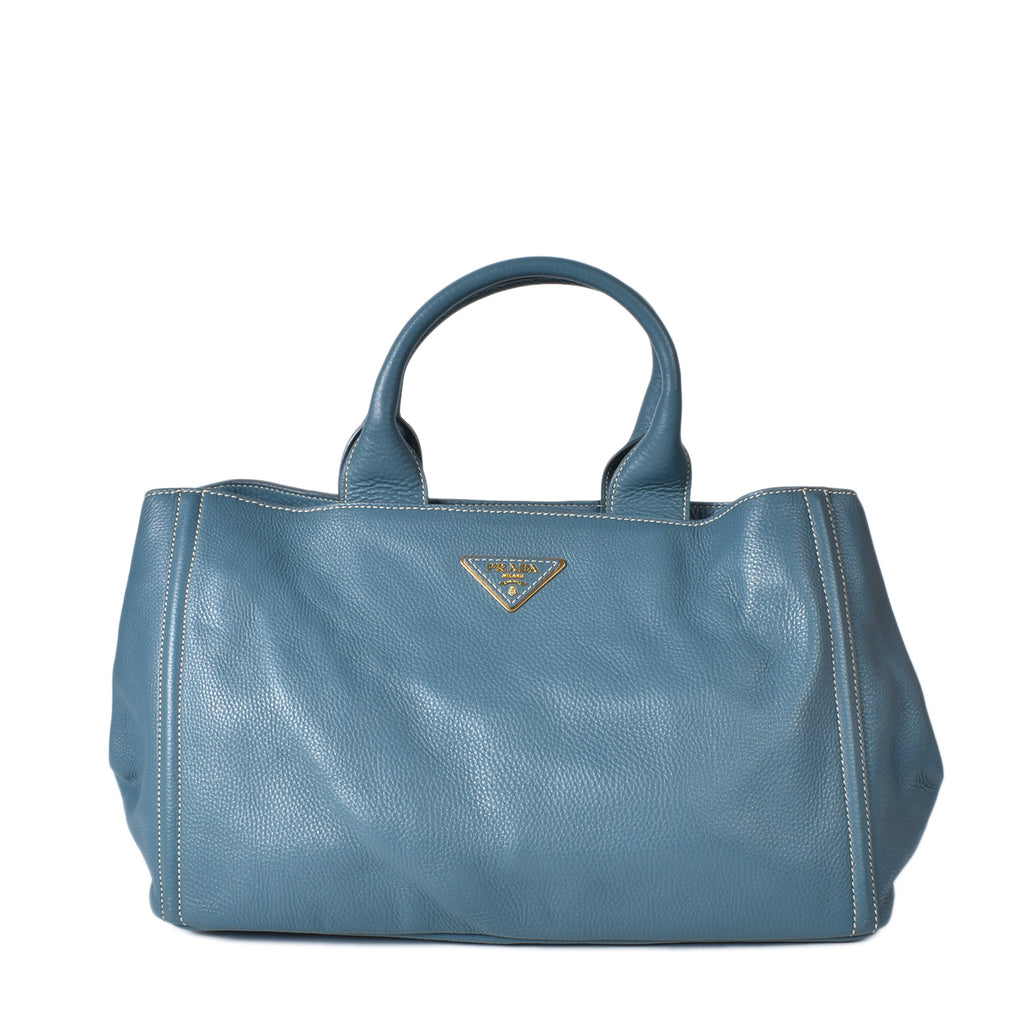 Prada Marine Blue Vitello Daino Leather Tote Bag