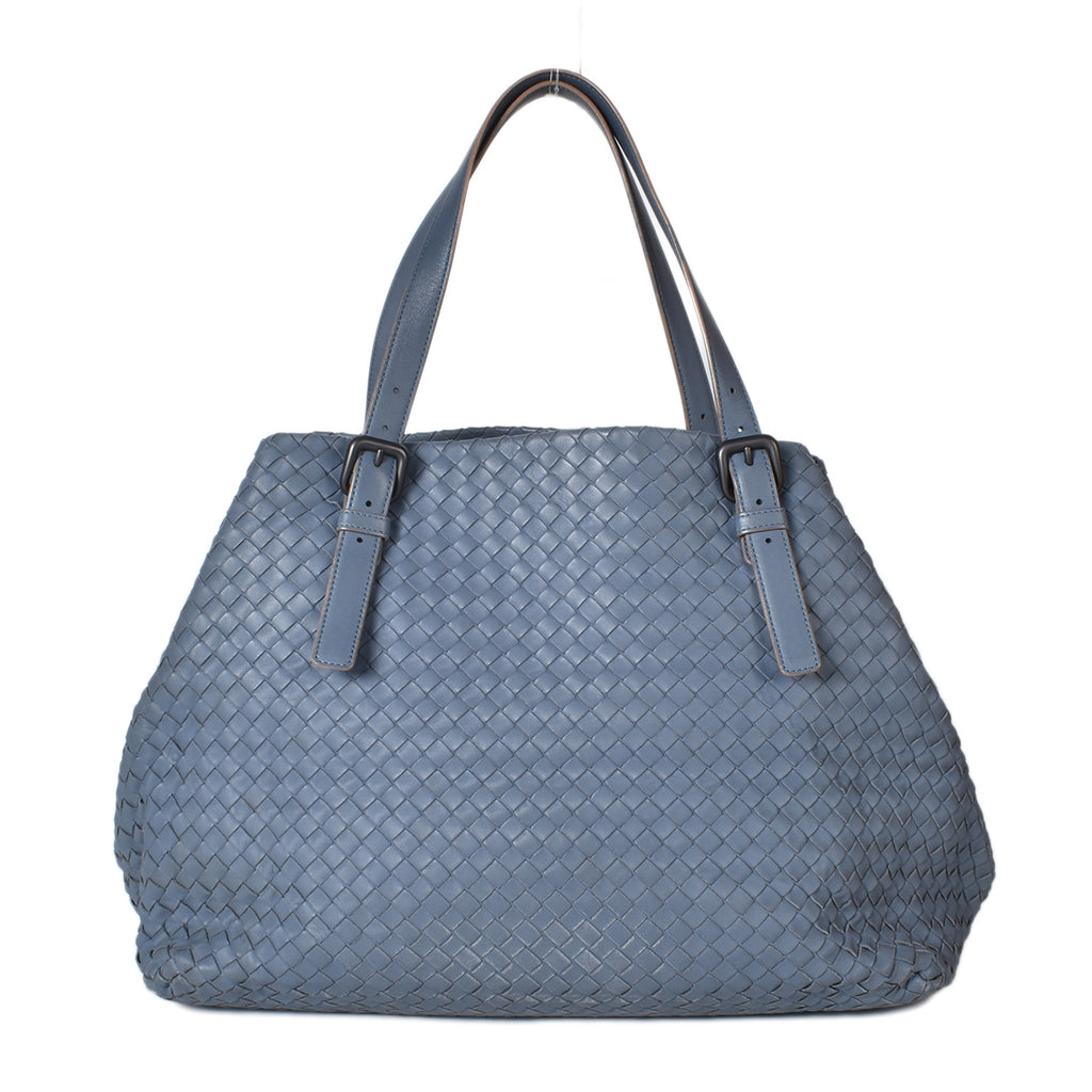 Bottega Veneta Nappa Intrecciato Seamless Large Blue Leather Tote