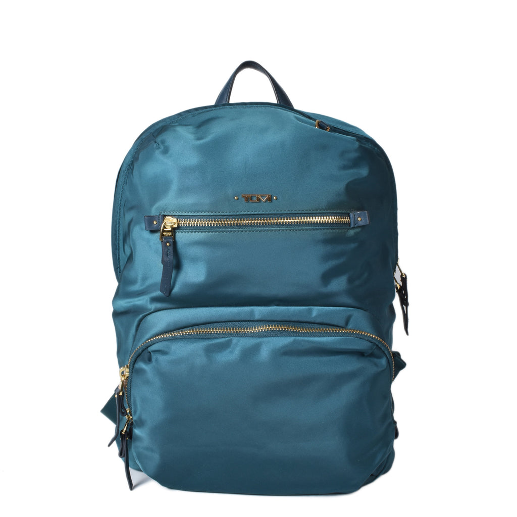 Tumi Green Nylon Backpack with Gold Tone Hardware
