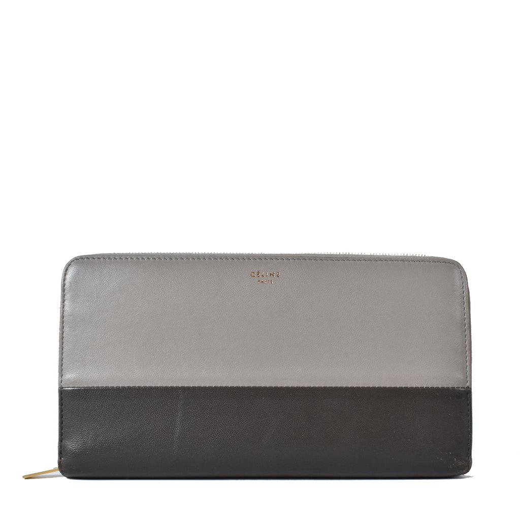 Celine Large Zipped Multifunction Bi-Colour Grey Long Wallet F-TN-0154
