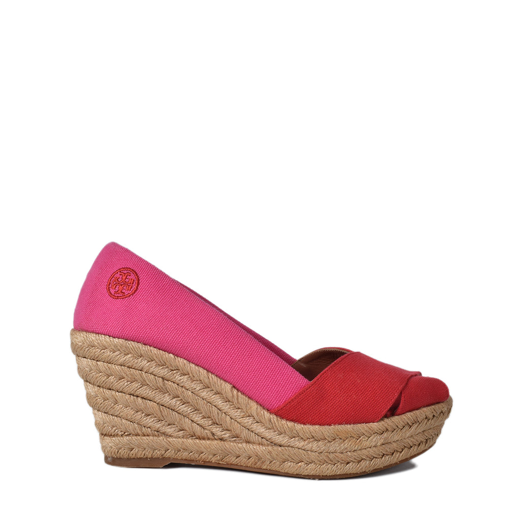Tory Burch Criss Cross Filipa Wedge Espadrille Red Pink