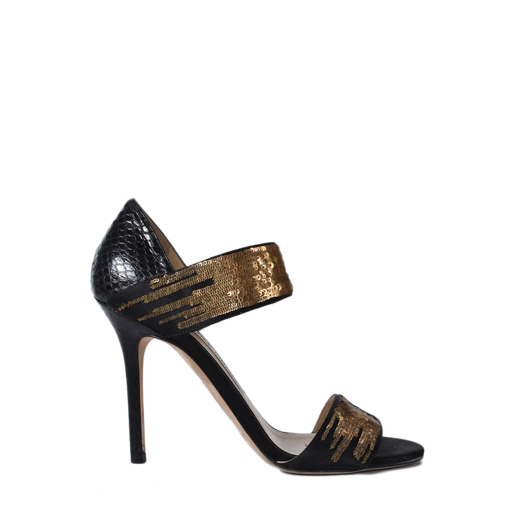 Jimmy Choo Black Satin and Python Tallow Gold Sequined Sandals