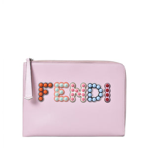 Fendi Clutch / Pouch 2 Jours Pink Calf Leather