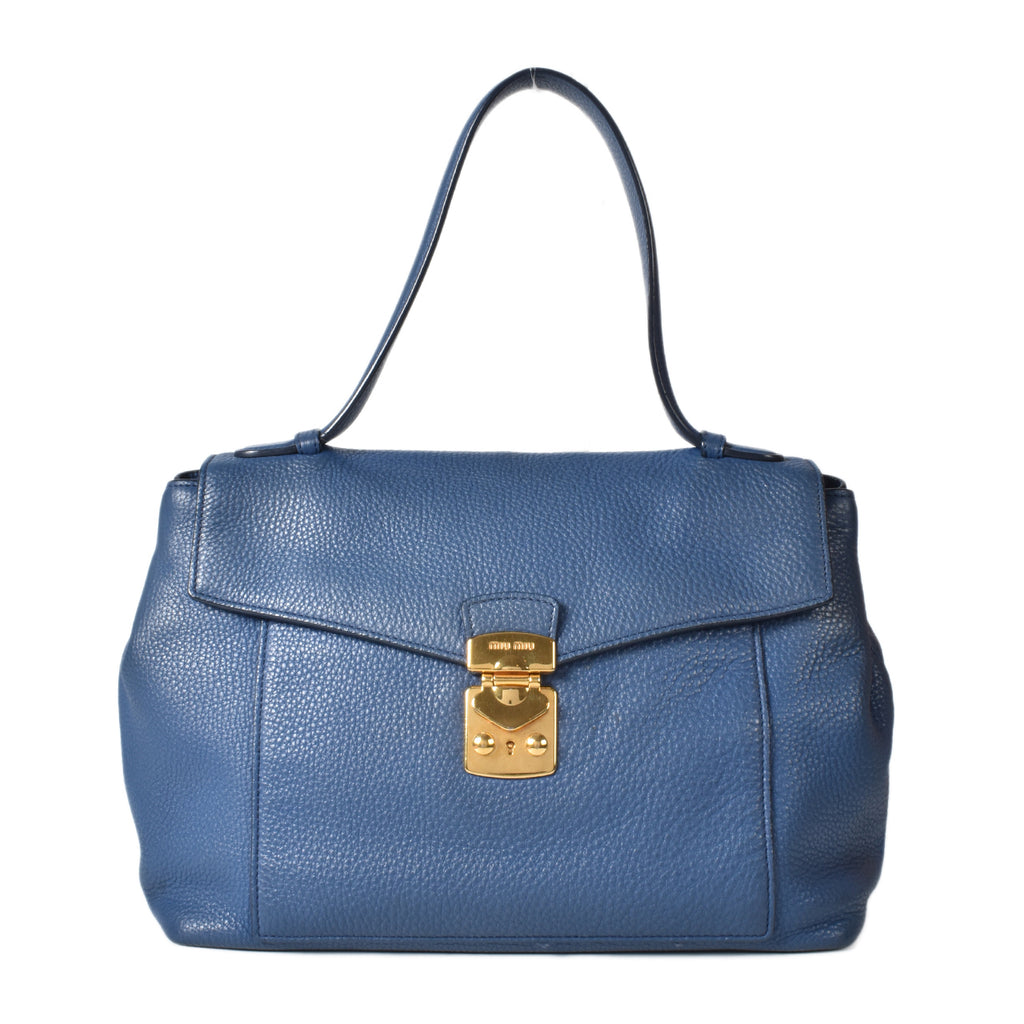 Miu Miu Blue Leather Shoulder Satchel
