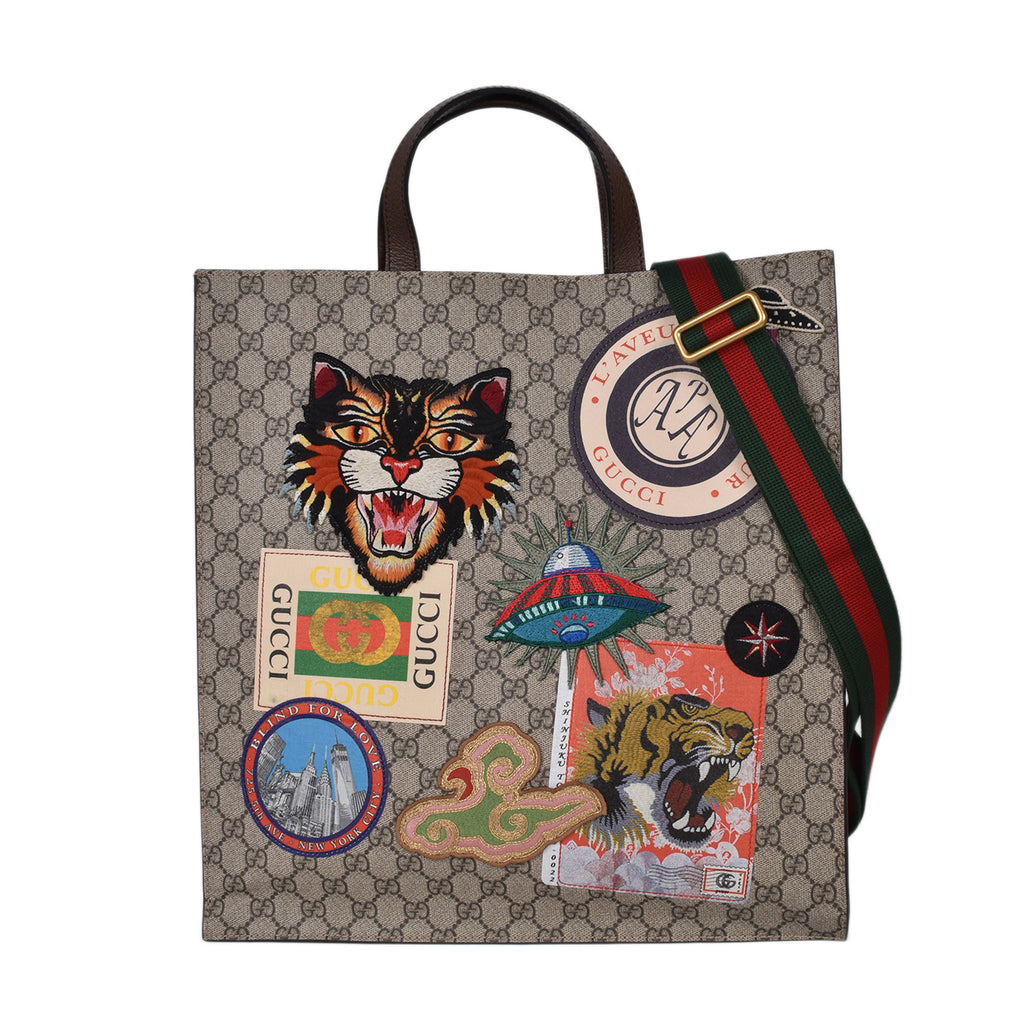 Gucci Beige/Ebony GG Coated Canvas Embroidered Courrier Soft Tote Bag (pig skin leather)