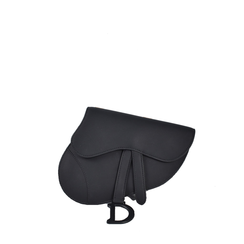 Christian Dior Black Saddle Flat Belt Pouch