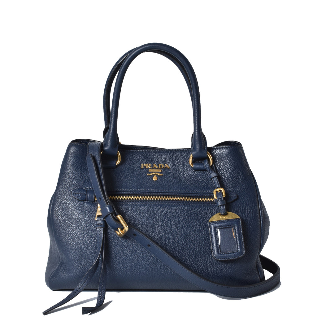 Prada Navy Vitello Phenix Leather Tote Bag
