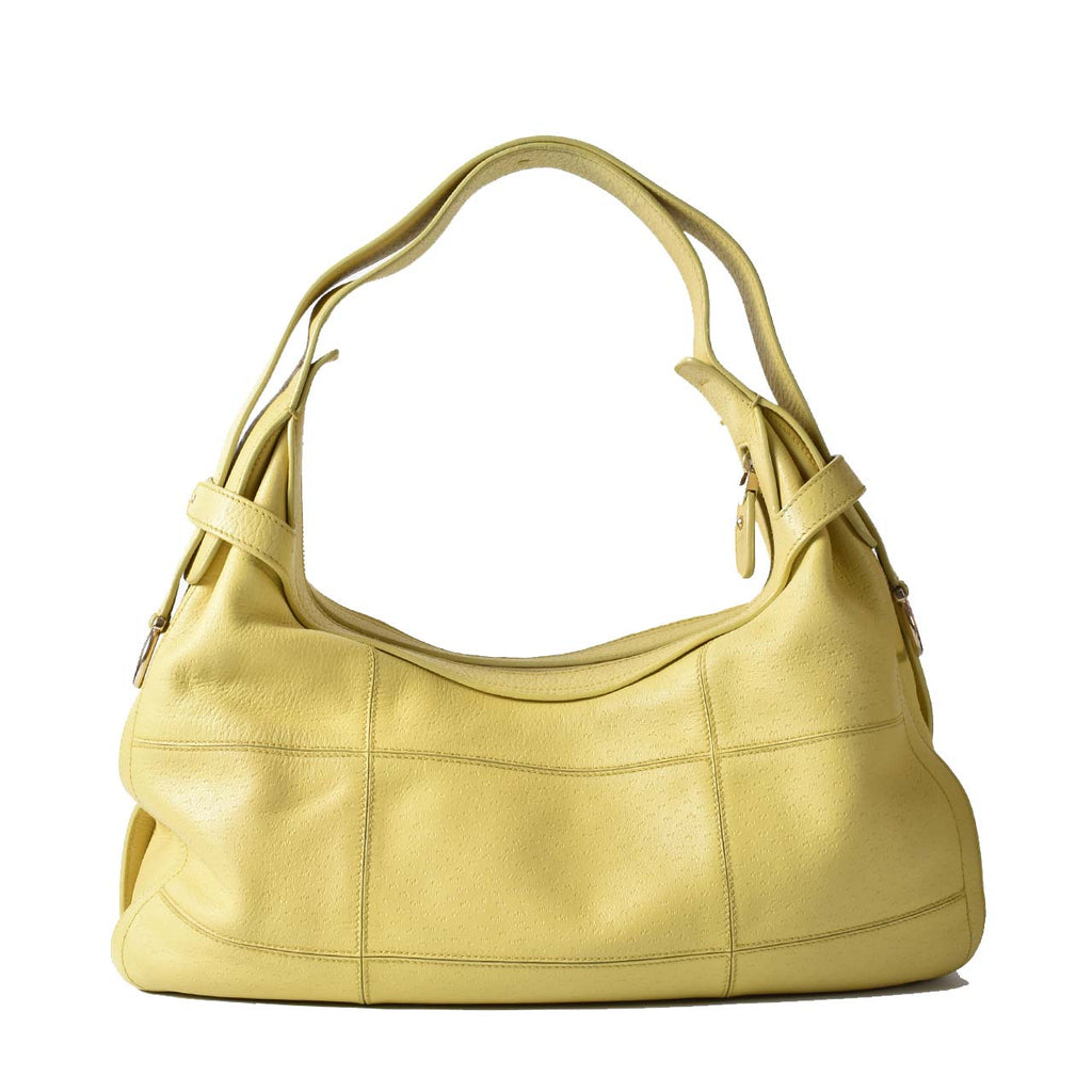Salvatore Ferragamo Yellow Leather Shoulder Hobo