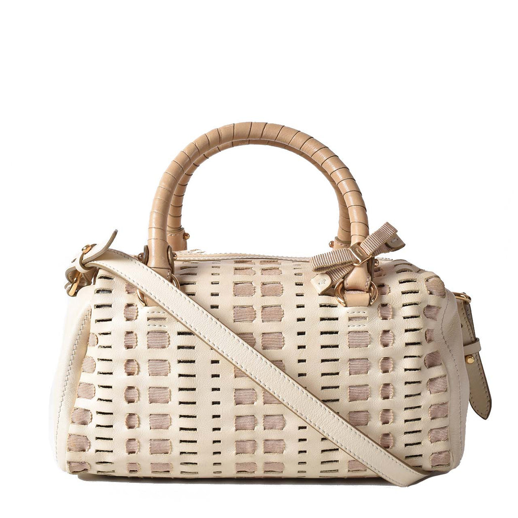 Salvatore Ferragamo Beige / White 2-Way Leather Bag