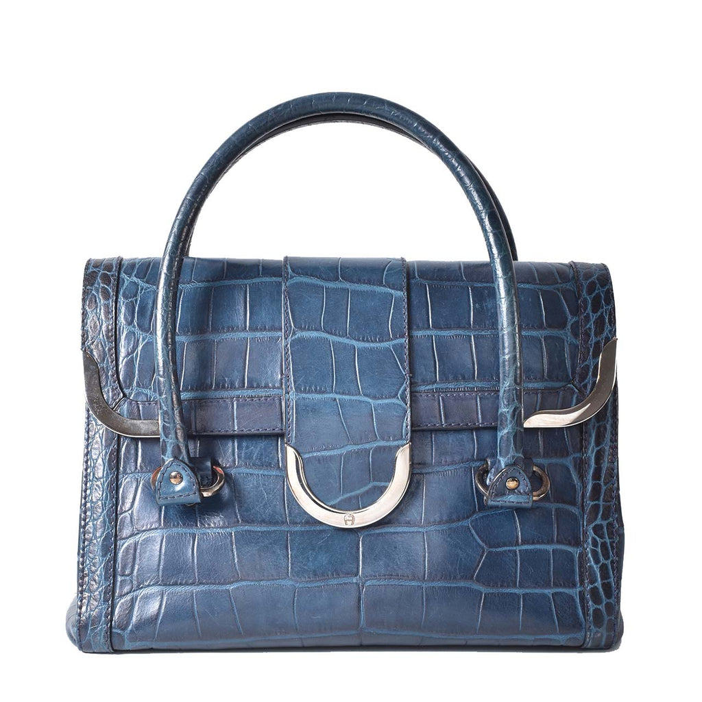 Aigner Blue Croc Embrossed Handbag