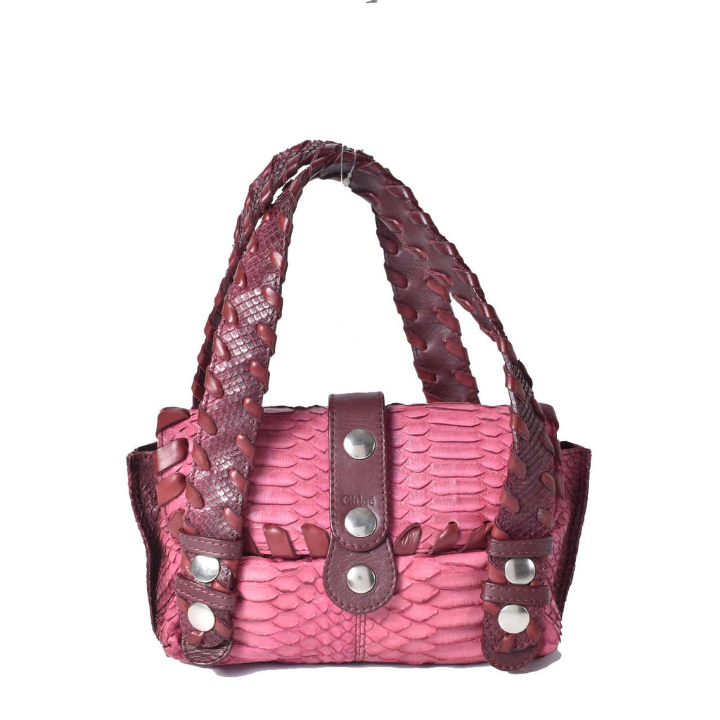 Chloe Small Python Bag in Fuchsia / Burgundy 01-05-53