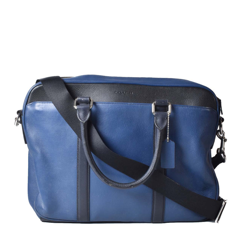Coach Perry Slim Blue and Black Leather Business Laptop Bag