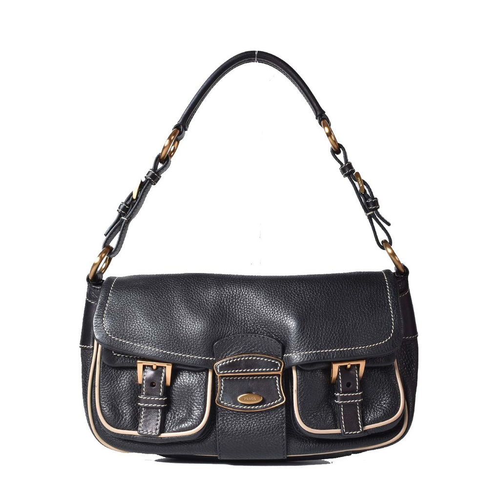 Prada Black Leather Shoulder Bag with White Trims