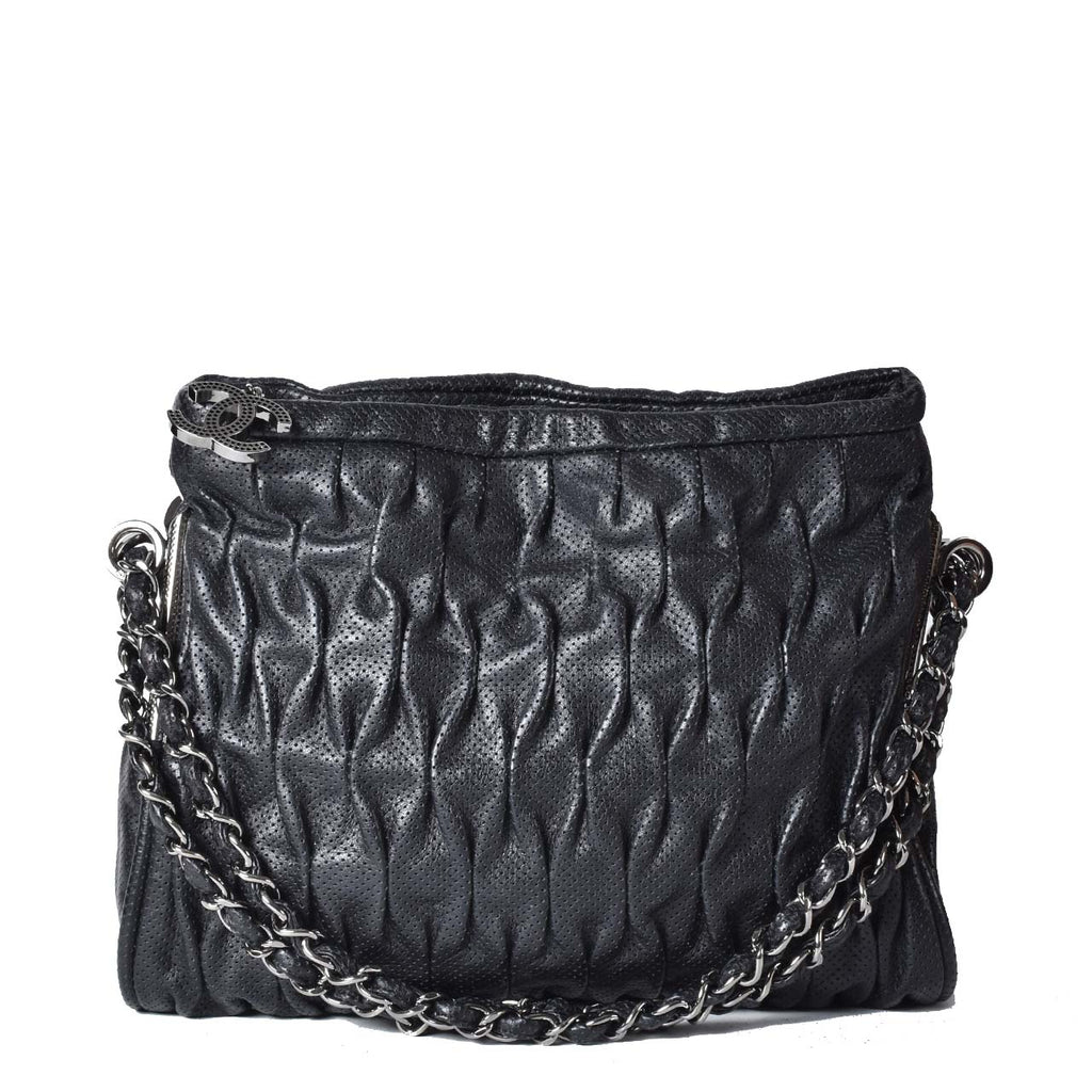 Chanel Perforated Leather in Black Shoulder Bag SHW