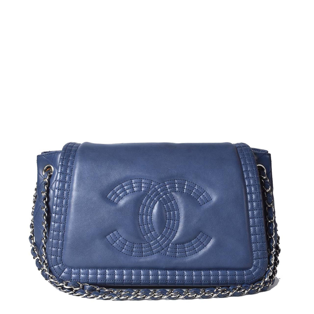 Chanel Blue Calfskin Coco Bengal Accordion Flap