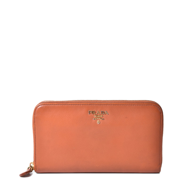 Prada Papaya Orange Saffiano Long Zippy Wallet