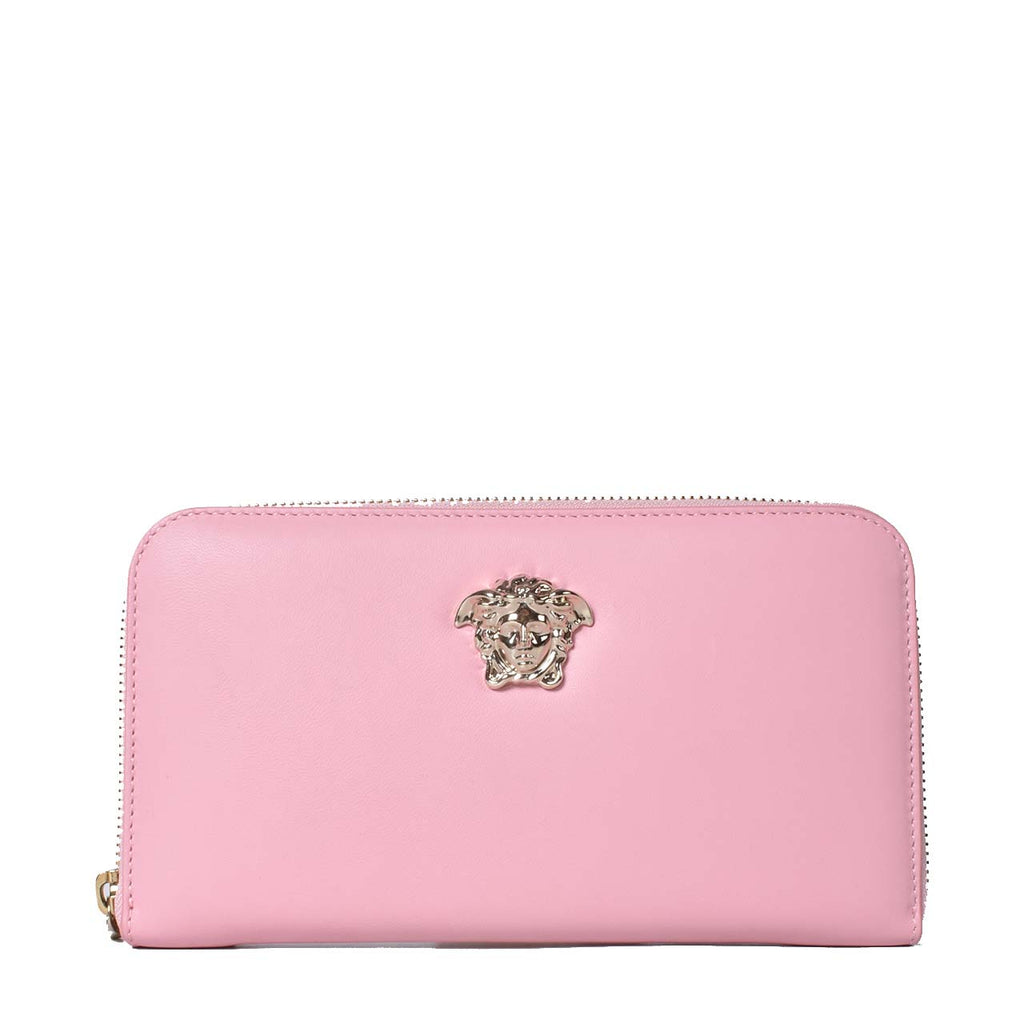 Versace Vitello Palazzo Medusa Zip Around Wallet Pink