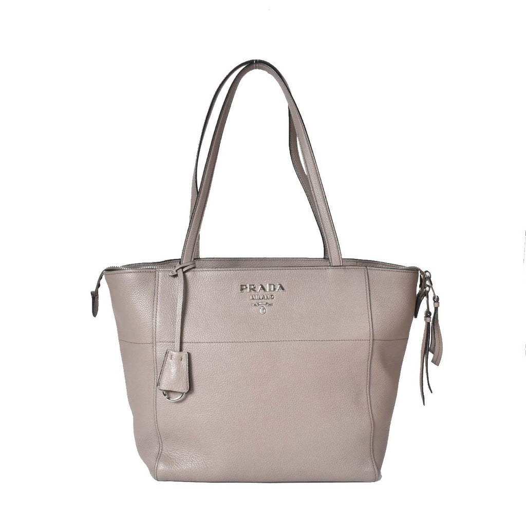 Prada Vitello Grain Grey Tote Bag