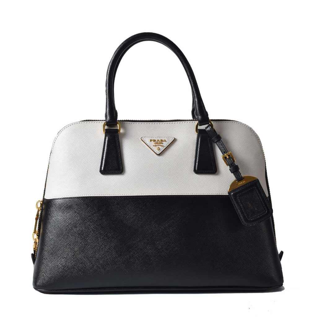Prada Black and White Alma Saffiano Lux