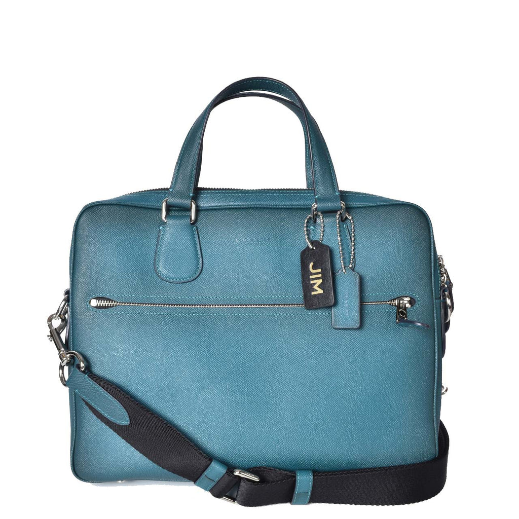 Coach Men Teal Briefcase Grained Calfskin