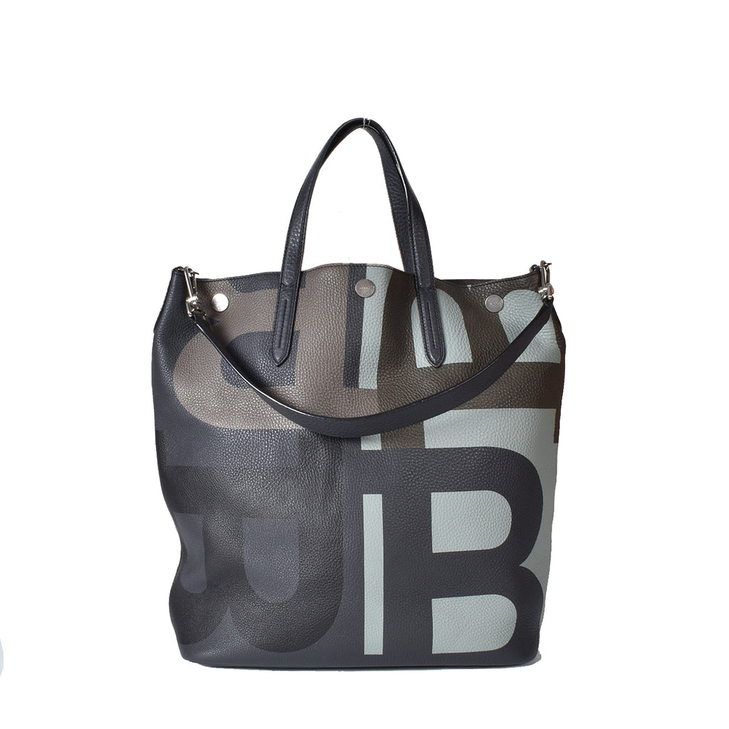 Bally Logo Colorblock Trooper Medium Leather Tote Bag