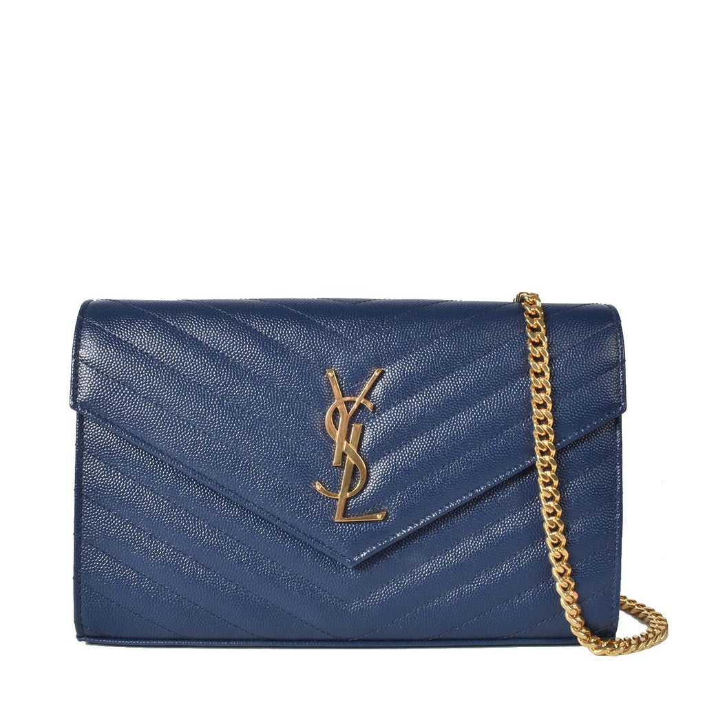 Saint Laurent Navy Monogramme Envelope Chain Wallet Bag GHW