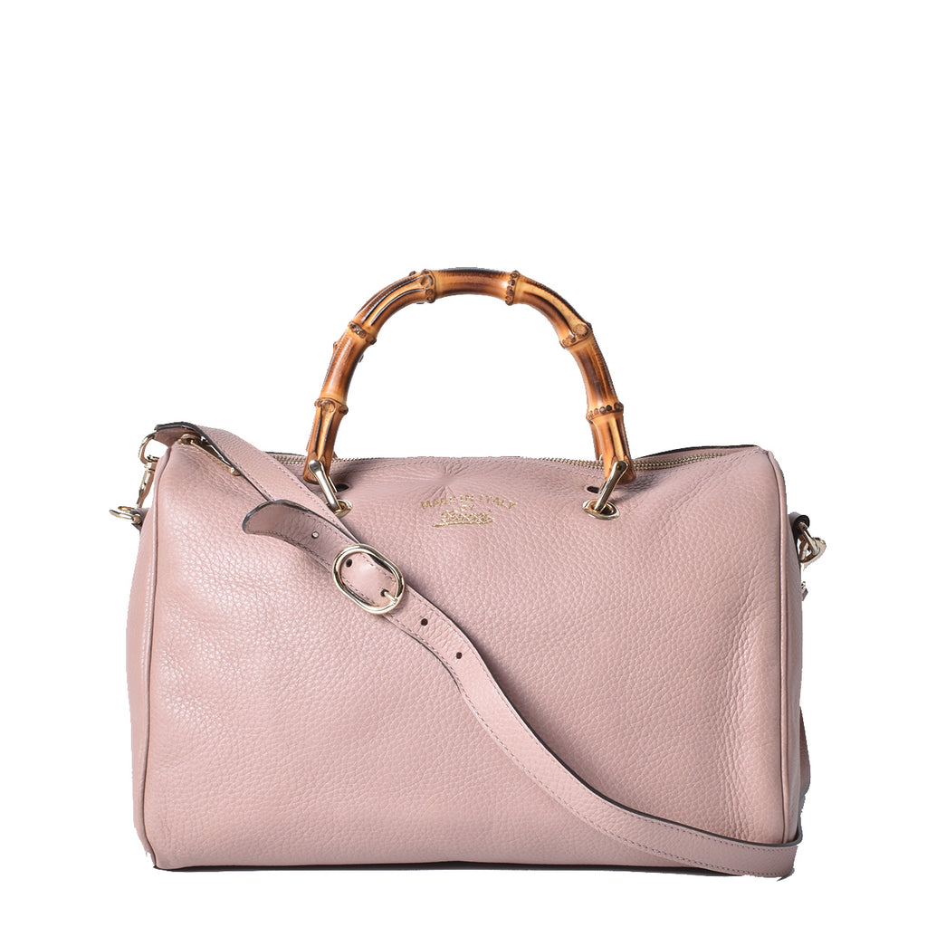 Gucci Bamboo Leather Shopper Boston Bag Old Pink