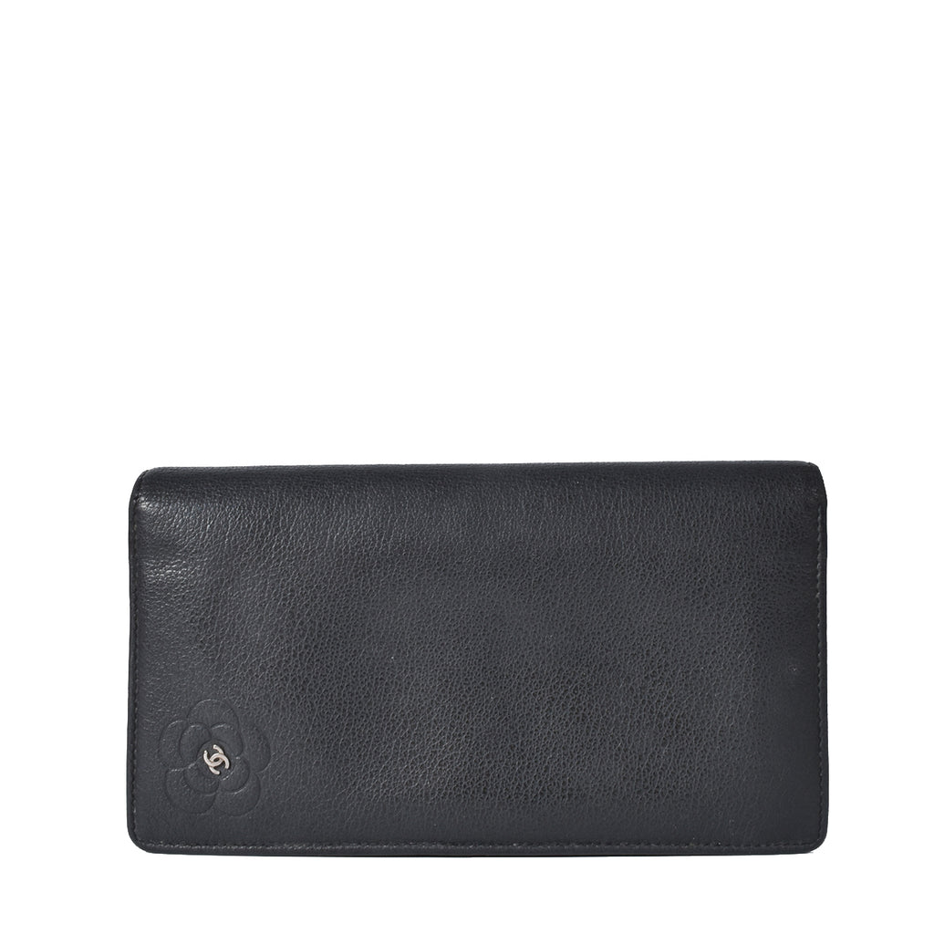 Chanel Black Leather Long Fold Wallet with Camelia