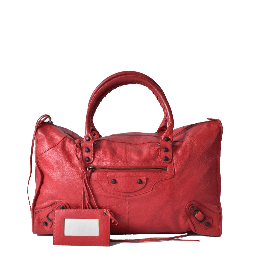 Balenciaga Red Lambskin Leather Giant 12 Brass Work Bag