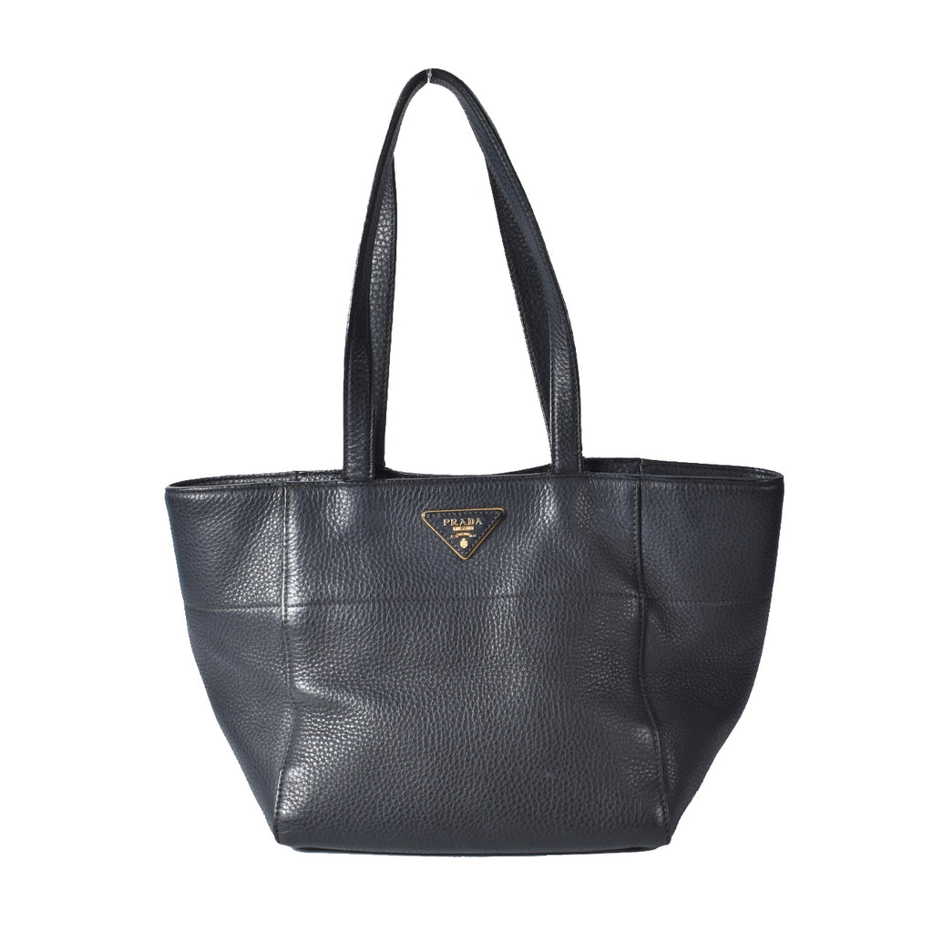 Prada Vit Daino Black Leather Tote Bag