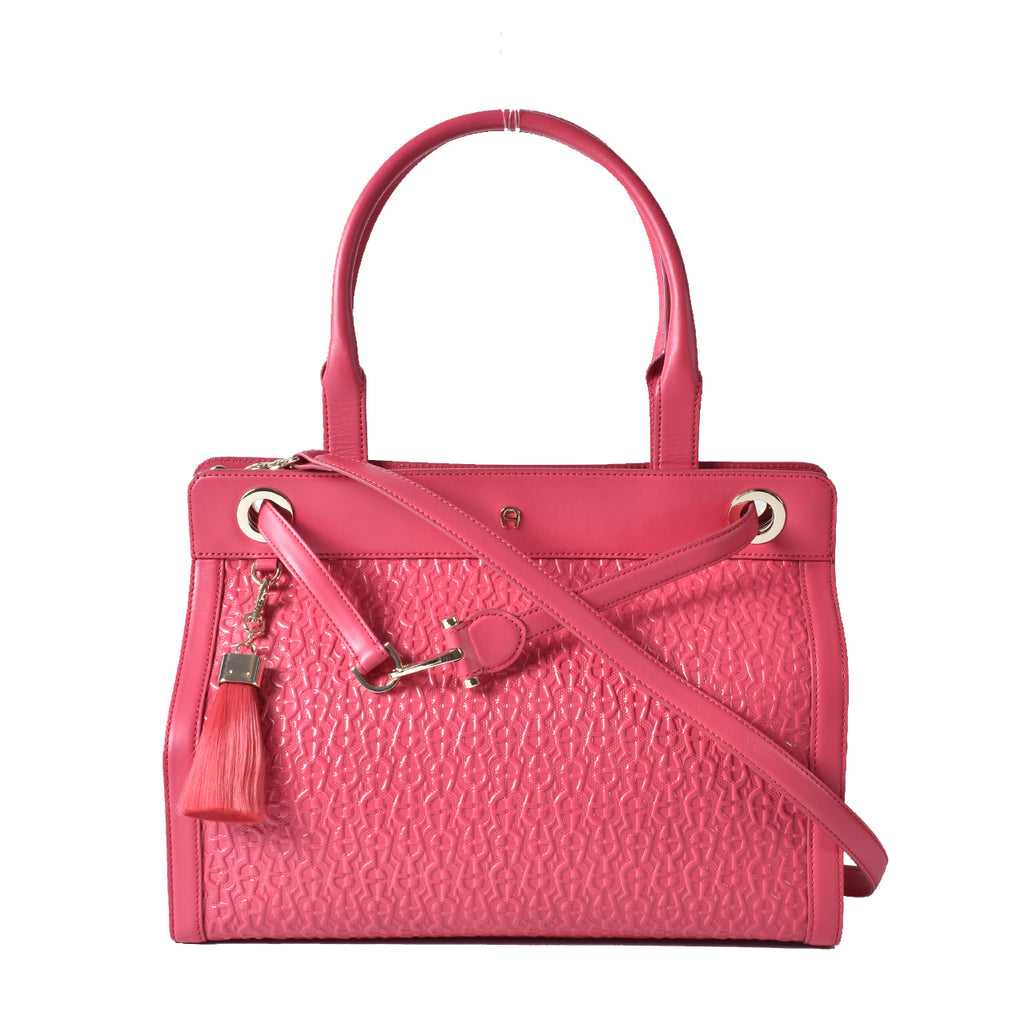 Aigner Pink Logo Embossed Shoulder Bag Tote with Tassel Charms