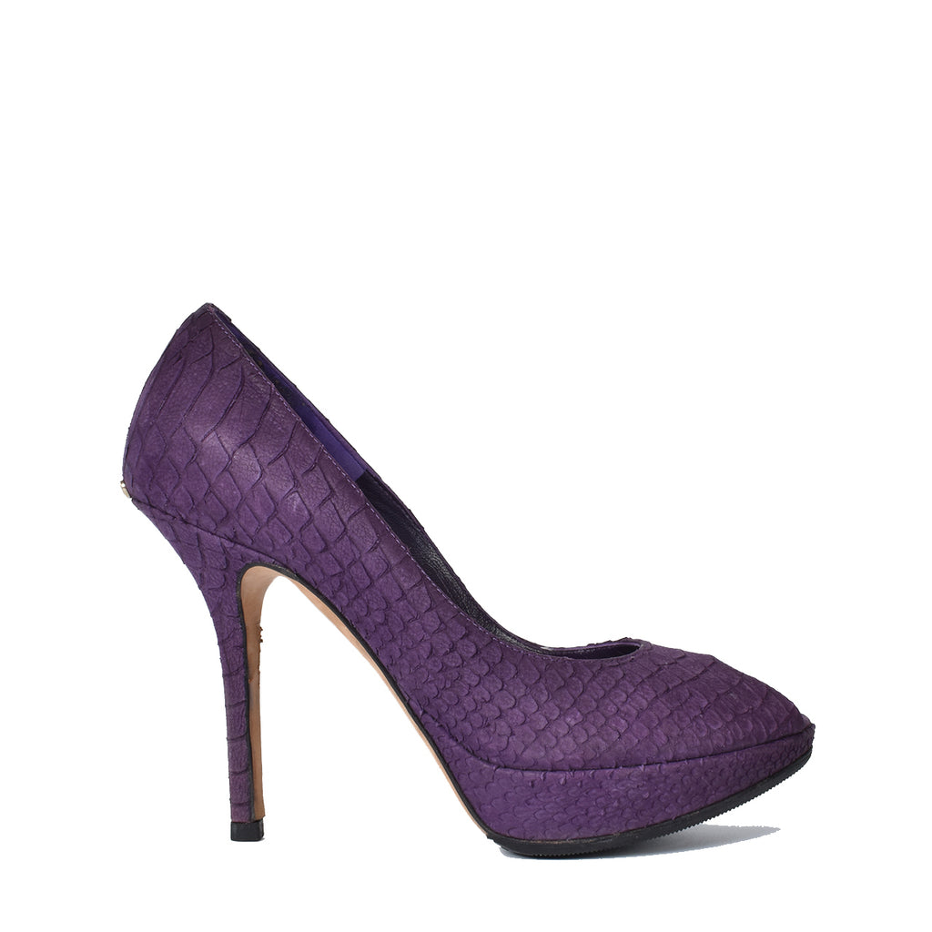 Christian Dior Purple Python Embossed Leather Miss Dior Peep Toe Platform Pumps