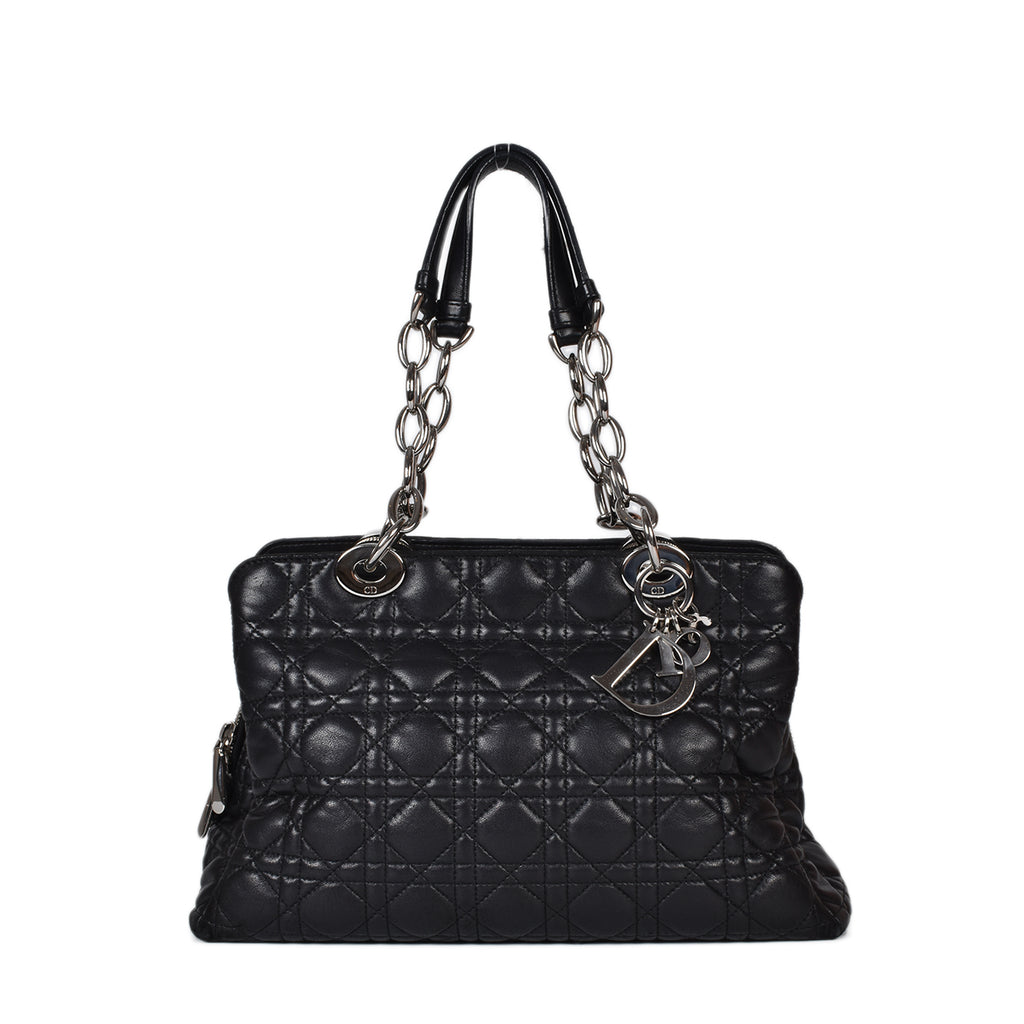 Christian Dior Black Cannage Quilted Lambskin Leather Small Dior Soft Zipped Shopping Tote