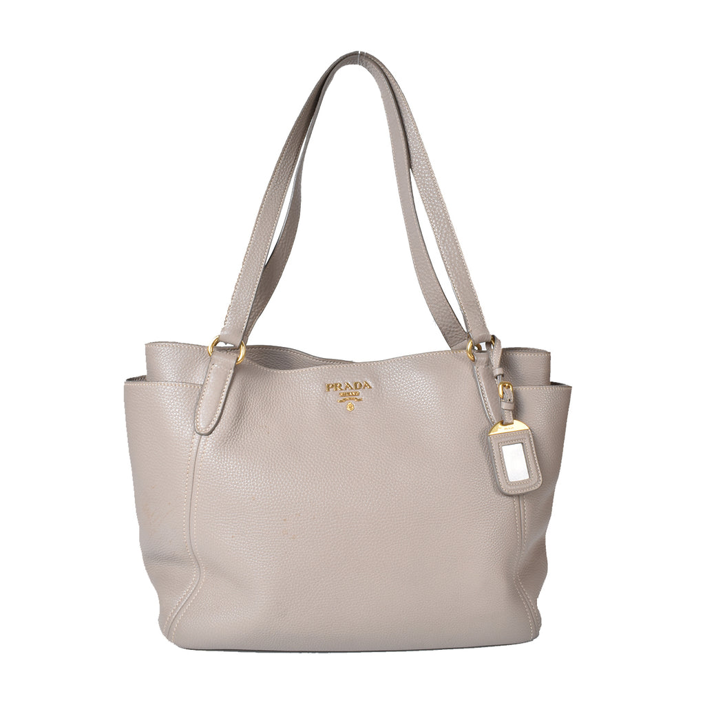 Prada Grey Vitello Daino Leather Double-Pocket Tote Bag